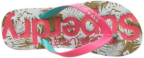Superdry Printed Cork, Tongs Femme Multicolore (Fluro Pink/Fluro Turq/Optic)