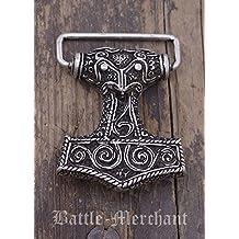 Mjoelnar LARP - Hebillade cinturón, diseño de martillo de Thor, vikingo, medieval, plata o bronce, plata
