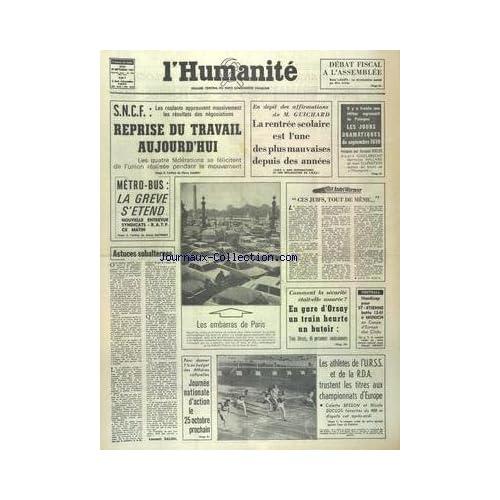 HUMANITE (L') du 18/09/1961 - LES CONFLITS SOCIAUX - LA RENTREE SCOLAIRE ET M. GUICHARD - IL Y A 3 ANS HITLER AGRESSAIT LA POLOGNE - ASTUCES SUBALTERNES PAR SALINI - LES ATHLETES DE L'URSS ET DE LA RDA