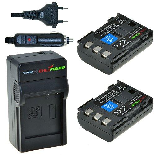 ChiliPower Canon NB-2LH, NB-2L, BP-2L5, BP-2LH Kit: 2x Batteria (900mAh) + Caricabatteria per Canon EOS 350D, 400D, Digital Rebel XT, XTi, PowerShot G7, G9 , S30, S40, S45, S50, S60, S70, S80, DC410, DC420, VIXIA HF R10, HF R100, HF R11, Kiss Digital N, Canon Optura 30, 50, 60, 40, 400, 500, Canon Elura 60, 50, 65, 70, 80, 85, 90, 40mc, Canon ZR-200