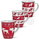 matches21 Weihnachtstassen Elche Tassen Becher 3-tlg. Set rot/weiß aus Porzellan hergestellt je 10 cm / 250 ml
