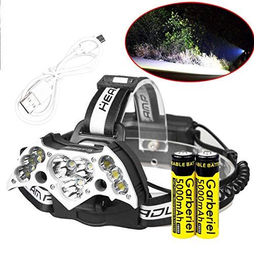 Phare LED 7 modes lampe frontale 11 x LED Zoom confortable étanche rigide pour phares Head Light Lampe torche avec batterie rechargeable pour le pour le camping pêche