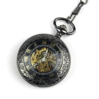 Steampunk-Taschenuhr-Anhnger-rmische-Zahl-Hlfte-Hunter-Antiqued-Silver-Black-Mit-Geschenk-Box