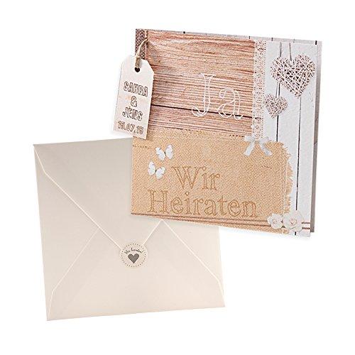 Holz-Optik Einladungskarte Molly zur Hochzeit, 3 Stück Blanko Hochzeitseinladung mit passendem Umschlag u. weddix Siegeletikett