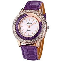 JIANGYUYAN® Womens Rhinestone Rose Gold Case Quartz Watches with Purple PU Leather Strap and Lucky Rolling Balls #274301