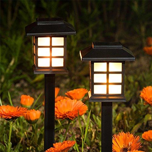 99native 2 Stück [Solarleuchte Garten] LED Solarlampe Gartenleuchte, Wasserdicht, Lichteffekt Dekoration Licht, für Außen Terrasse Rasen Garten Hinterhöfe Wege (B-Gelb)
