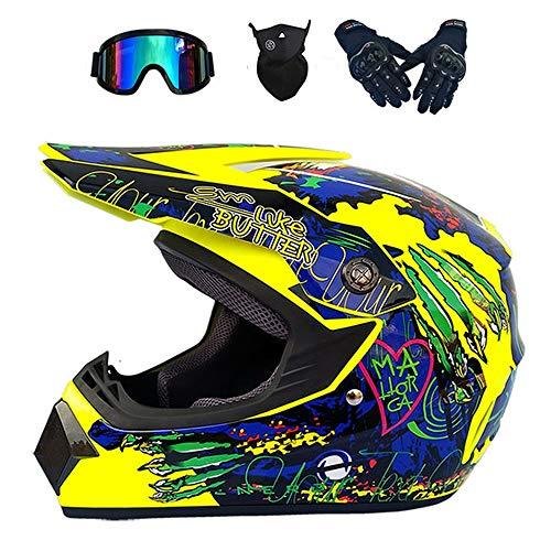 Adult Motorrad Downhill Helm, Unisex Offroad-Helm Cross Offroad Motorrad Enduro Helm für Crash Scooter Dirt Bike Sicherheit Schutz Männer Damen mit Brille Handschuhen Maske, Gelb Blau,M (Scooter Dirt Bike)
