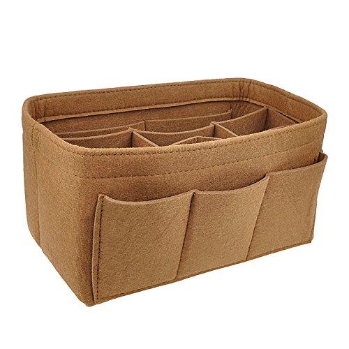 APSOONSELL Bag in Bag Handtaschen Organizer Filz, Taschen Organisator für Handtaschen, Innentaschen für Handtaschen, Braun - Groß (Große Handtasche)
