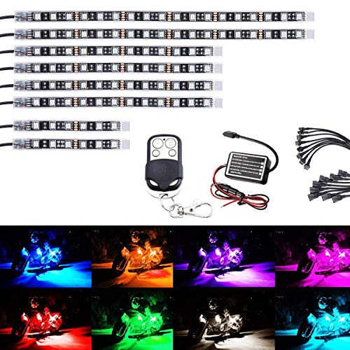 Ruitx 8Pcs Motorrad-LED-Light-Kit Streifen Multi-Color Akzent Glow Neon Lichter Lampe Flexibel Mit Fernbedienung Für Harley Davidson Honda Kawasaki Suzuki Ducati Polaris KTM BMW (Pack Von 8) -