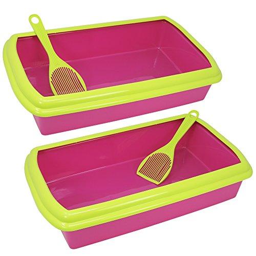 com-four® 2X Katzentoilette mit Schaufel und Rand, Katzenklo in pink - grün, 48,5 x 29,2 x 10,4 cm (02 Stück - Pink)