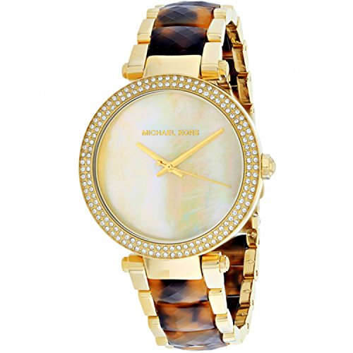 Michael Kors Parker Glitz Crystals Mother of Pearl Dial Gold Tortoise Women's Watch MK6518