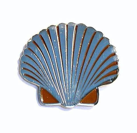 Metall Emaille Brosche Scallop Sea Shell