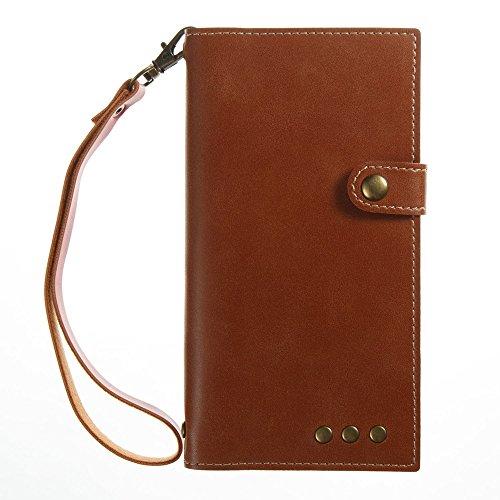 Solid Color Faux Ledertasche Retro Folio Horizontale Flip Stand Case mit Magnetniet Verschluss & Card Slots & Lanyard für Sony Xperia XR & XZ ( Color : Khaki ) Brown