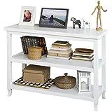 SoBuy® Tabla de consola, armario del pasillo, aparador, mueble de cocina, con 2 estantes, FSB06-W,ES (Blanco)