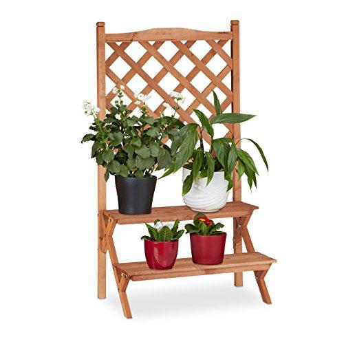 Relaxdays 10022926_59 scala portavasi, fioriera con grigliato con 2 gradini per vasi e rampicanti legno d'abete hlp: 110x61x40 cm beige