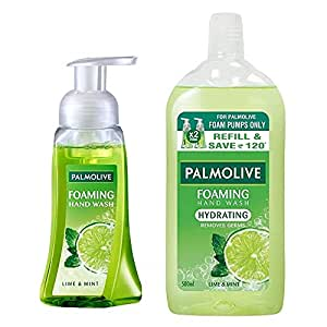 Palmolive Hydrating Foaming Hand Wash, Lime and Mint - 250ml Pump With Hydrating Foaming Hand Wash, Lime And Mint - 500ml (Refill Pack)