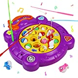 Akokie Fishing Rod Musical Toys Rotating Board Educational Learning Role Play for Girls