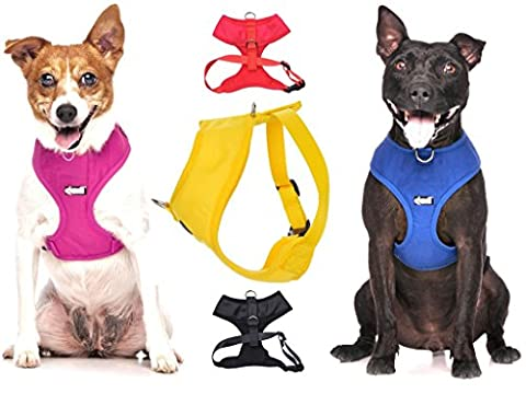 Dexil Elite Range Luxury Padded Waterproof Adjustable Back and Front Ring Non-Pull Medium Pet Dog Vest Harness (Candy Pink, Medium 48-72cm Chest)