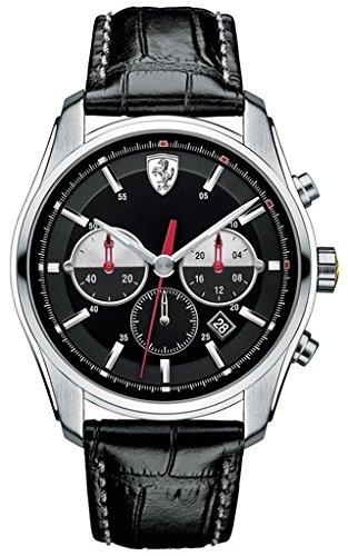 Ferrari - 0830200 - Montre Homme - Quartz - Analogique - Chronomètre - Bracelet Cuir Noir