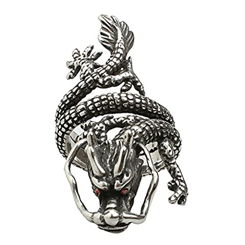 Aooaz Men's Stainless Steel Ring Silver Plated The Descendants of the Dragon Red CZ Eyes Band Retro R 1/2
