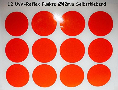 UvV-Shop Reflektoren Sticker Aufkleber, 12 Stück Ø42 mm Sicherheit durch reflektierende Folie (orange)