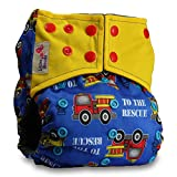 Littles & Bloomz, Reusable Pocket Real Cloth Nappy Washable Diaper Bamboo Charcoal, Pattern 2, with 1 Charcoal Insert