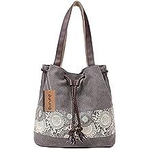 6d1a32dc5be3a DNFC Damen Handtasche Canvas Schultertasche Umhängetasche Damen Shopper  Tasche Schöne Vintage Henkeltasche Beuteltasche