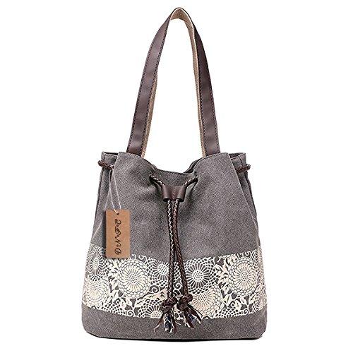 DNFC Damen Handtasche Canvas Schultertasche Umhängetasche Damen Shopper Tasche Schöne Vintage Henkeltasche Beuteltasche (Grau) -