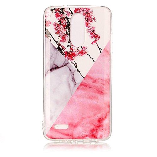 LG Mobile K8 Hülle, Marmor Design Muster Weich TPU Silikon für LG K8 2017 Schutzhülle, E-lush Kratzfeste Handyhülle Ultra Chic Dünn Schutzhülle Rückschale Etui Bumper Phone Case Cover-Rosa Pfirsich phr
