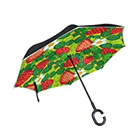 JSTEL Double Layer Inverted Leaf With Strawberries Umbrella Cars Reverse Windproof Rain Umbrella for Car Outdoor With C Shaped Handle