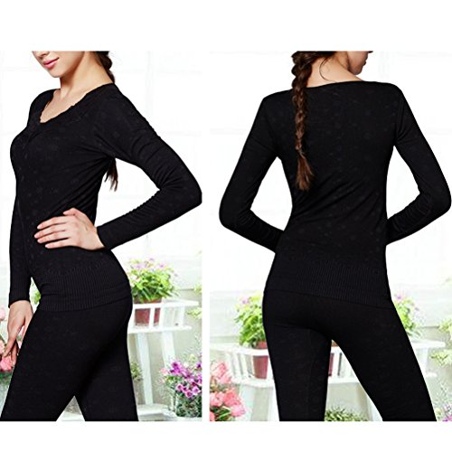 Zhhlaixing Donne Winter Thicken Warm Lace Sexy V-neck Body-shaped Thermal Underwear Suits Black