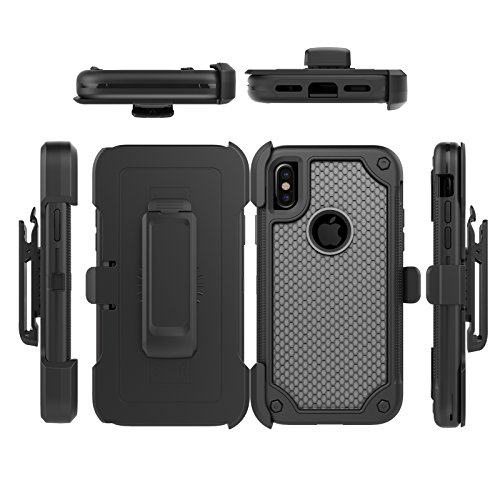 iPhone X Case, Four Layer Full Body Rugged Defender Cover, VMAE 360 Degree Rotary Belt Clip & Kickstand Anti-slip Case, PC TPU Combo Hybrid Protective Case for iPhone X 5.8 Inch (Black) X1-Black