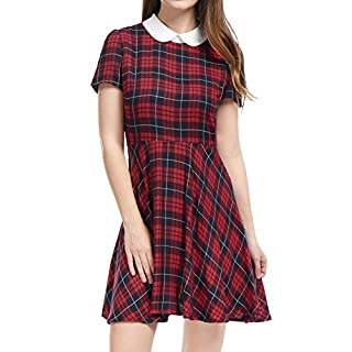 Allegra K Women's Checks Peter Pan Collar Puff Sleeves Above Knee Dress L Red