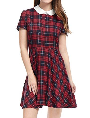 Allegra K Damen Sommer Patchwork Bubikragen Puffärmel Karo Minikleid Kleid, L (EU 44)/Rot