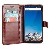 Raiphy Leder Brieftasche Hülle für Vernee X ,Telefon schützender lederner Fall mit einem Einbauschlitz und Standfunktion (Braun)