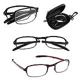 Gemini _ Mall - occhiali da lettura pieghevoli, compresa custodia, +1 / +1.5 / +2 / +2.5 / +3 / +3.5 / +4.0, colore: nero, rosso