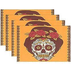 Mexican Skull Girl Mit Roten Rosen Hitzebeständige Tischsets Fleckenbeständige, rutschfeste, waschbare Polyester-Tischsets Rutschfeste, pflegeleichte Tischsets, 42 'x 48', 4er-Set