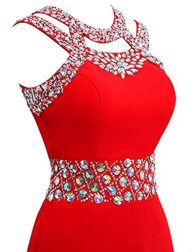 JAEDEN Damen Chiffon Neckholder Ballkleider Lang Abendkleider Festkleid Formales Kleid Koralle
