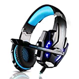 DIZA100 G9000 Gaming Headset Over-Ear Stereo Headband Headphone 3.5mm Jack with Mic LED Light for PS4/Xbox one/PC -Blue
