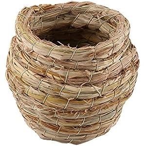 Delaman® Handgewebtes Vogel Nest gemütliches und bequemes Käfig Haus aus natürlich Stroh für Vögel Kleine Haustier