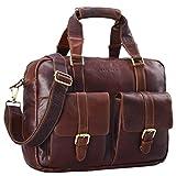 STILORD 'Vitus' Ledertasche Männer Frauen braun tragbar als Vintage Umhängetasche große Handtasche mit 15.6 Zoll Laptopfach ideal als College Bag Bürotasche Aktentasche, Farbe:cognac - dunkelbraun