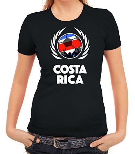 ShirtStreet World Cup Wappen Soccer Fussball WM Fanfest Gruppen Fan Wappen Damen T-Shirt Fußball Costa Rica Schwarz