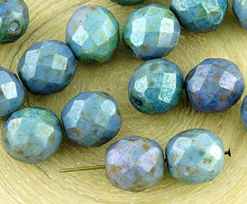 8pcs Picasso, Braun, Weiß Alabaster Opal Lila, Grün, Glanz, Runde, Facettierte, feuerpoliert Tschechische Glas Spacer Perlen 10mm -