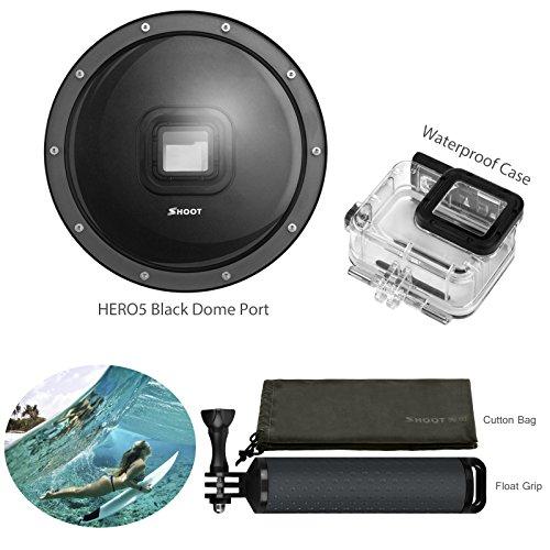 Filmer 15,2cm Dome Port pour GoPro Hero 5Noir Déclencheur avec boîtier étanche et Sac de Protection
