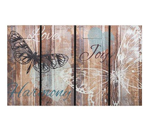 Dehner Fußmatte Butterfly, ca. 75 x 45 cm, Gummi mit Polyester-Beflockung