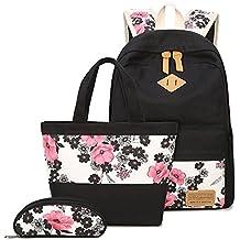 Neuleben Schulrucksack + Handtasche + Federmäppchen Schultaschen 3 Set Groß Rucksack aus Canvas für Jungen Mädchen