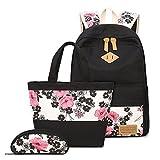 Neuleben Gute-Qualität 90-Tage-Garantie Schultaschen 3 Set Schulrucksack + Handtasche + Federmäppchen für Mädchen Damen, Mehrfarbig