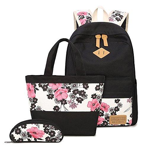Neuleben Schulrucksack + Handtasche + Federmäppchen Schultaschen 3 Set Groß Rucksack aus Canvas für Jungen Mädchen (Rot)