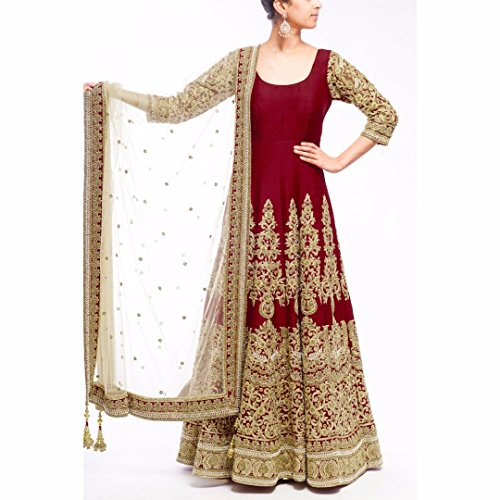 Tanya Designer Maroon Color Embroidered Anarkali Suit