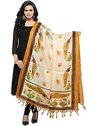 Salwar Studio Women's Mustard & Cream Jute Silk Printed Dupatta(OM-0031458_Free Size)